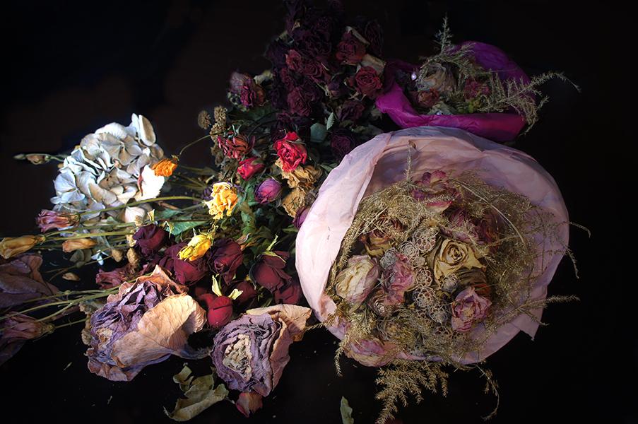 foto: Casper Gijzen - dried flowers with pearl earring - decay