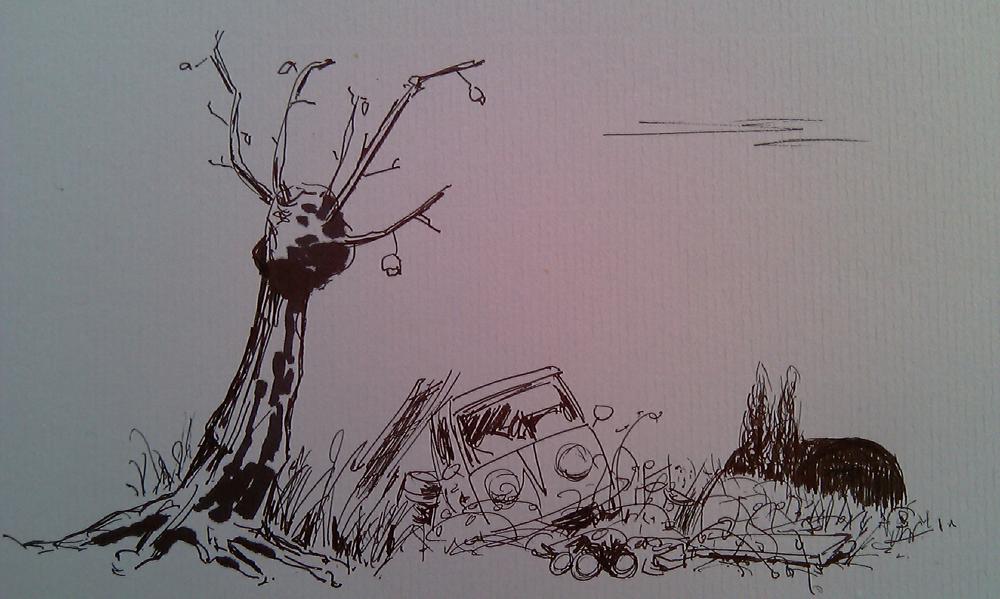 landfill landscape - drawing art by Casper Gijzen