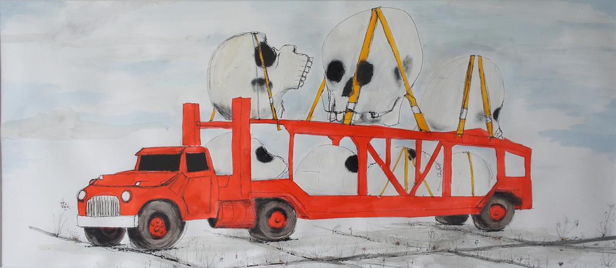 skull-truck - drawing by Casper Gijzen